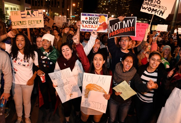 Thousands of people turned out to march against President-elect Donald Trump in Denver, Colorado.